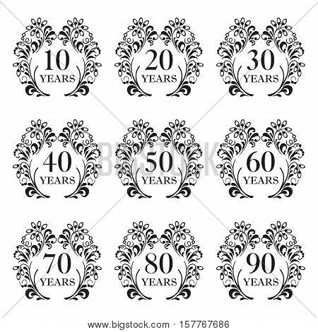 Anniversary icon set. Anniversary symbols in ornate frame with floral elements. 10,20,30,40,50,60,70,80,90 years. Template for cards and congratulation design. Vector illustration.