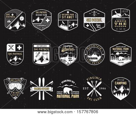 Stamps for outdoors camp. Different tourism hipster style patch and badges. Expedition emblem. Winter or summer ski patrol graphic. Snowboarding insignia First aid mountain rescue logo for web, print