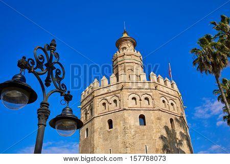 Seville Torre del Oro tower in Sevilla Andalusia Spain