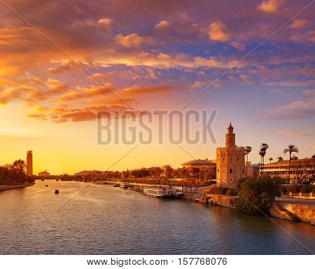 Seville sunset skyline torre del Oro in Sevilla Andalusia Spain