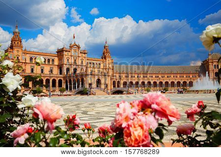 Seville Sevilla Plaza de Espana in Andalusia Spain square