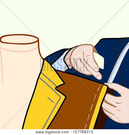Taylor sews clothes tailor and dummy vector illustration
