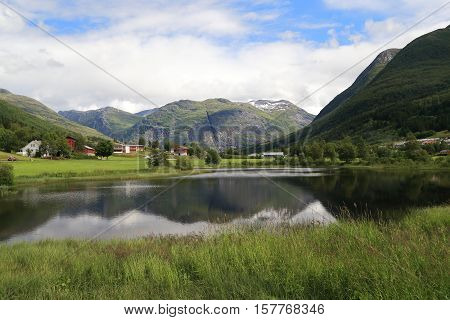 This is view of the lake in one of the parts of the of the National Park Jostedalsbreen Norway.
