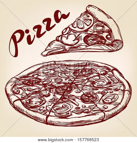 Italian pizza set hand drawn vector llustration realistic sketch