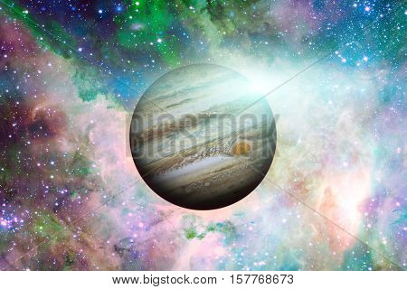 Planet Jupiter. Nebula On The Background.