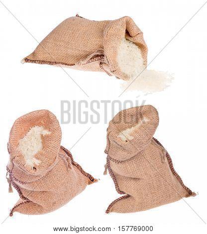 rice in burlap sacks isolated on white background