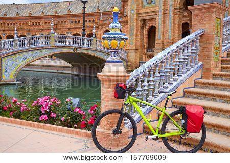 Seville Sevilla Plaza de Espana bike Andalusia Spain square