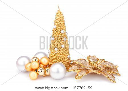 Christmas candle balls and flower decoration isolated on white background.