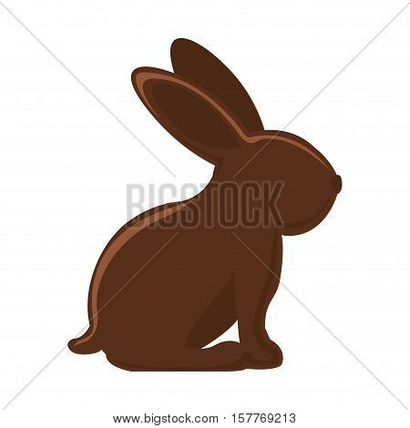 silhouette of chocolate rabbit with long ears vector illustration