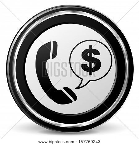 Illustration of dollar phone black and gray icon
