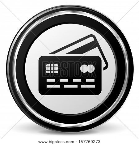 Illustration of credit card black and gray icon