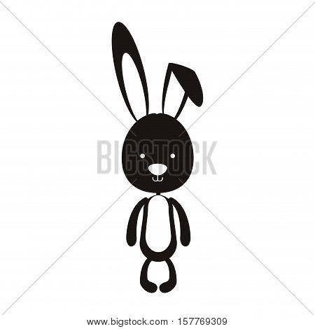 black silhouette of skinny rabbit vector illustration