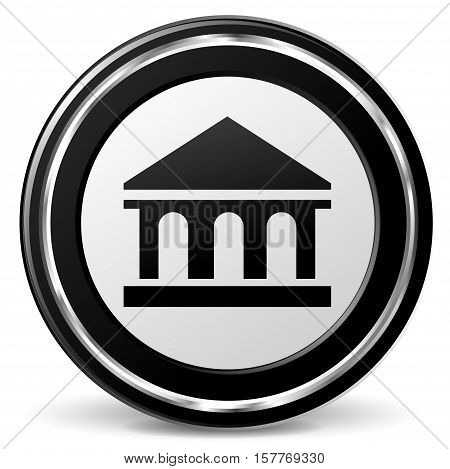 Illustration of bank black and gray icon