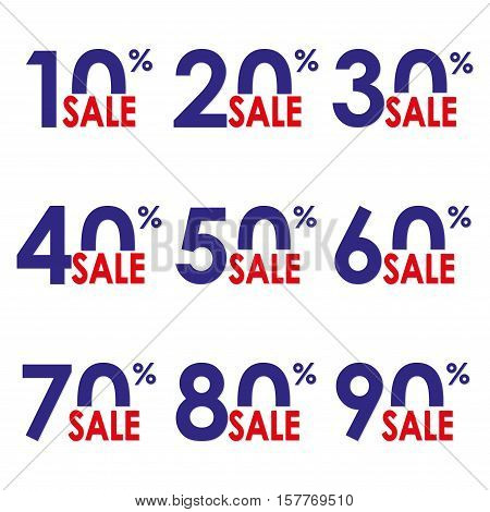 Sale icon set. Discount price and sales design template. Shopping and low price symbols. 10,20,30,40,50,60,70,80,90% sale. Colorful vector illustration.