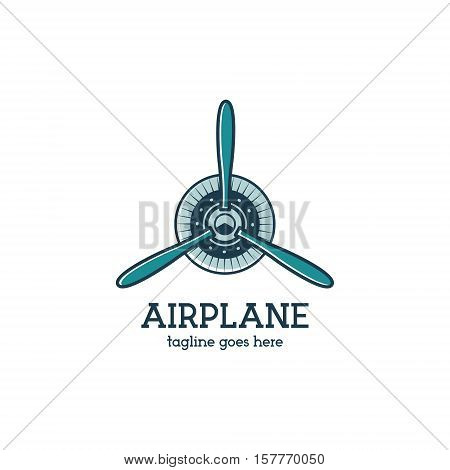 Airplane propeller logo template with radial engine. Retro Plane badge.  Isolated on white background.