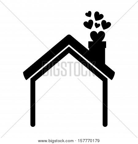black silhouette house with chimney and hearts vector illustration