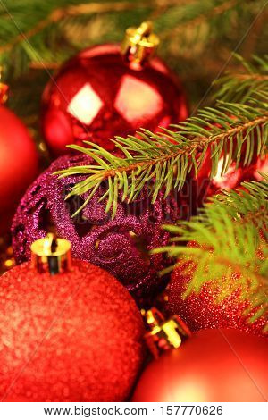 Red christmas balls close up shallow dof