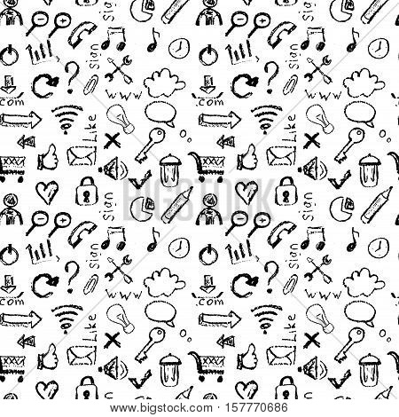 Seamless pattern of web icons, hand drawing chalk, black on white background, Stock vector illustration