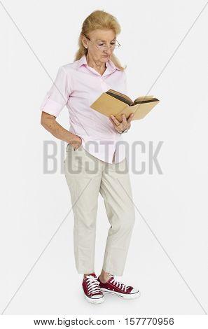 Lady Studio Reading Book Concept