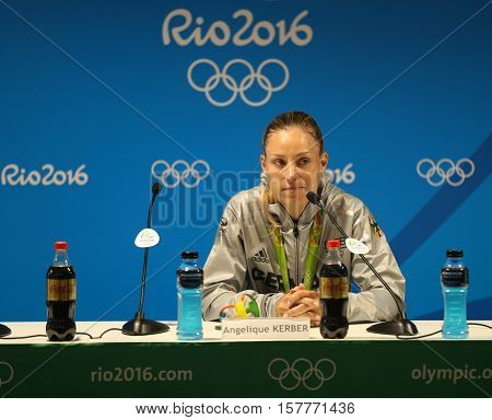 RIO DE JANEIRO, BRAZIL - AUGUST 13, 2016: Silver medalist Angelique Kerber of Germany during press conference after tennis women's singles final of the Rio 2016 Olympic Games