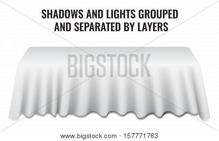 Empty dinner banquet table with white cloth 3d realistic desk vector illustration. Shadows and lights grouped by layers.
