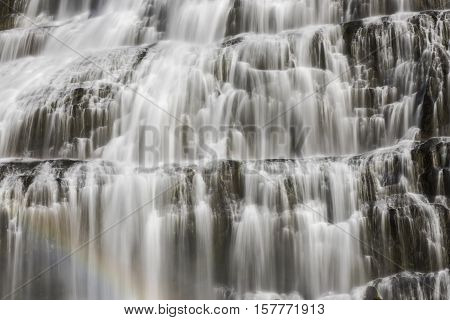 Detail of great waterfall fjallfoss on iceland.