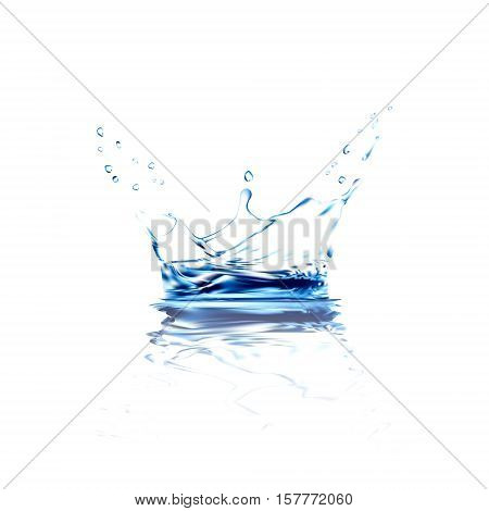 water vector splash with reflection. blue water spray with drops isolated. 3d illustration vector. aqua surface background created with gradient mesh tool