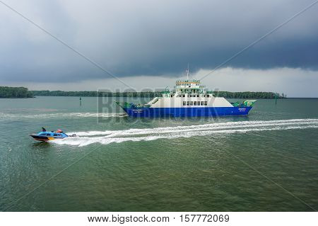 Menumbok,Sabah-May 4,2016:Ferryboats and speedboats passenger in Menumbok,Sabah on 4th May 2016.There is a daily ferry and speedboat service between Menumbok,Sabah and Labuan Pearl Of Borneo.