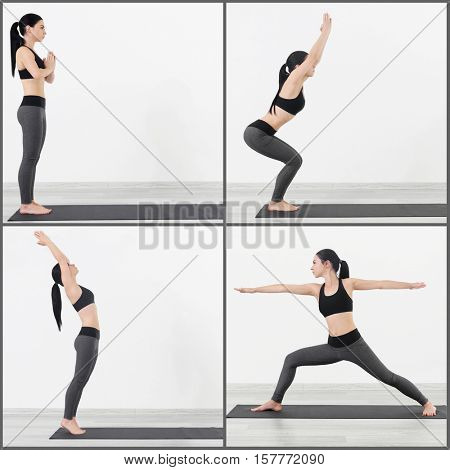 Young woman practicing yoga, white background. Sport concept.