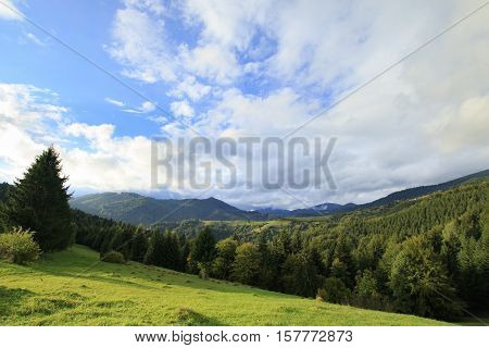 Gree mountain landscape with cloudy blue sky and coniferous forest