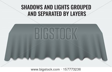 Empty dinner banquet table with dark cloth 3d realistic desk vector illustration. Shadows and lights grouped by layers.