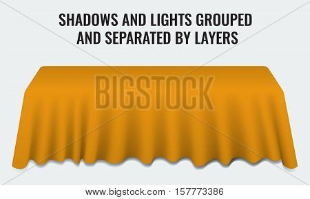 Empty dinner banquet table with orange cloth 3d realistic desk vector illustration. Shadows and lights grouped by layers.