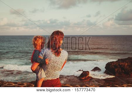 family travel Mauritius- mother and son looking at Gris Gris cape on South of Mauritius