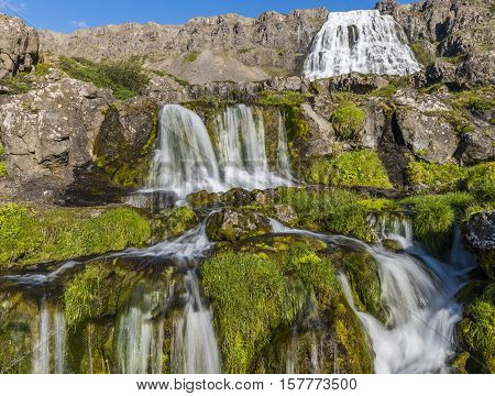 Great and small waterfall fjallfoss on iceland.