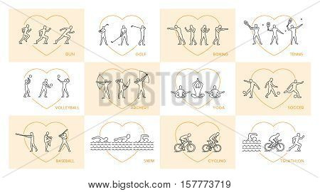 Vector line set of sports figures athletes. Silhouettes of sportsmen.