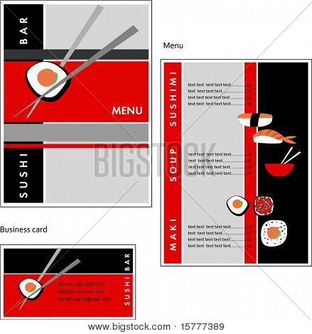 Template designs of menu and business card for coffee shop, SUSHI BAR and restaurant, vector file include poster