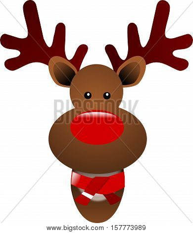 Christmas reindeer  with a scarfon a white background