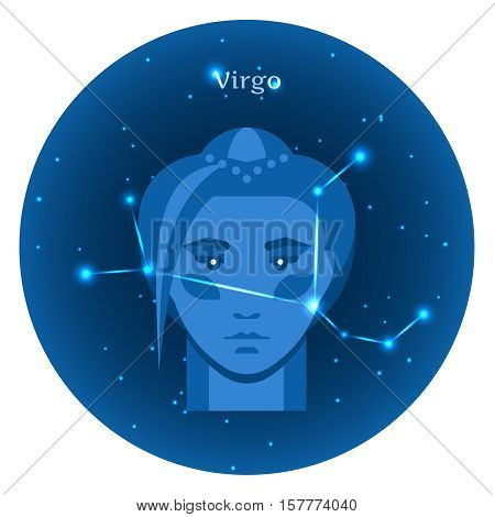 Stylized icons of zodiac signs in the night sky with zodiac bright stars constellation in front. Astrology symbol. Virgo zodiac sign.