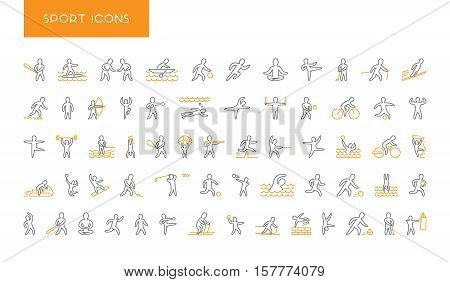 Large line set of sports icons. Vector linear symbol of sportsmen. Pictogram summer and winter sports. Open path.