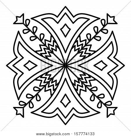 Simple mandala flower design for coloring book pages. Doodle floral pattern in bold print. Easy coloring mandala for beginners.