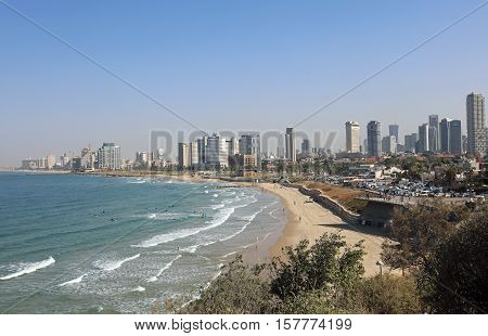Tel Aviv, Israel - November 4, 2016: The Mediterranean Coastline of Tel Aviv. There are many Beaches and a lot of beachfront Hotels.