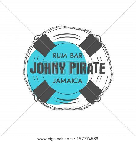 Vintage handcrafted rum bar label, emblem. sign - johny pirate, Jamaica. Sketching filled style. Pirate and sea symbols - old lifebuoy. Isolated on white background. illustration