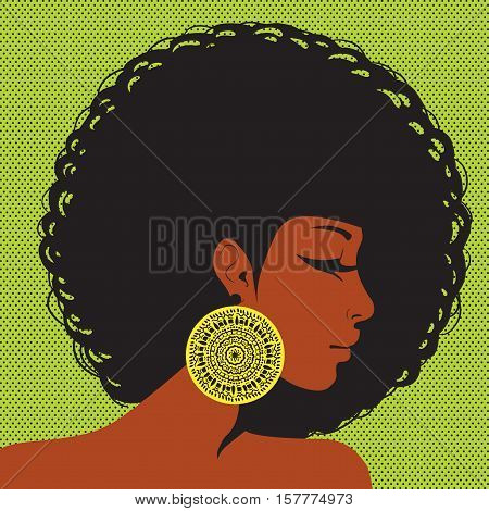 profile silhouette African-American woman with hair in the style of disco ear ornament in ethnic style