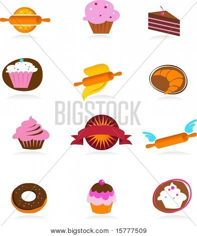 collection of pastry and cakes icons