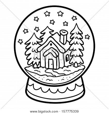 Coloring book for children, winter Snowball with house