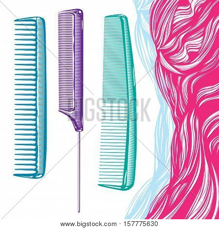 tools for hairdressers and stylists colored comb and hair of pink hair