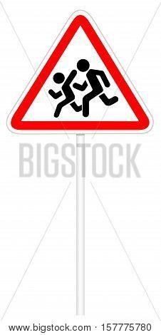 Warning traffic sign isolated on white 3D illustration - Children