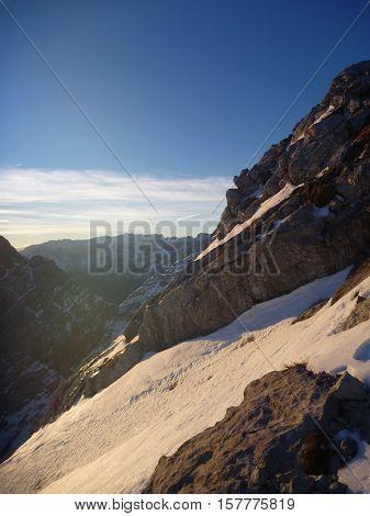 Climbing The Watzmann Mountain In Early Morning
