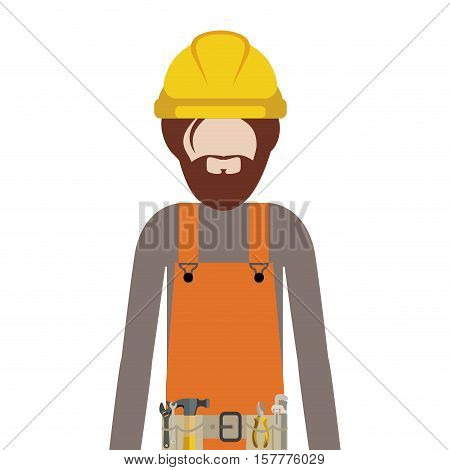 half body man worker with toolkit and beard vector illustration