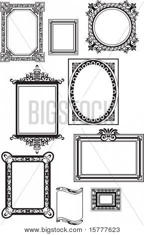 Collection of many vintage picture frames, Vector file, To see similar, please visit MY GALLERY